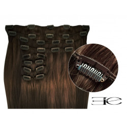 Synthetic clip in hair extensions dark chestnut  extra volume 18 inch