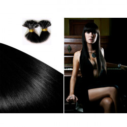 Pre Bonded Hair Extensions Straight - Natural Jet Black 18 Inch