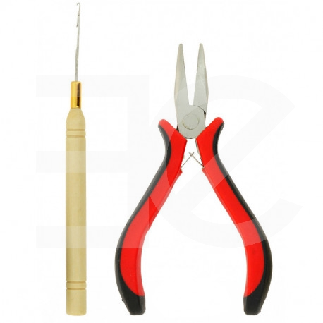 Plier and hook for micro ring hair extensions