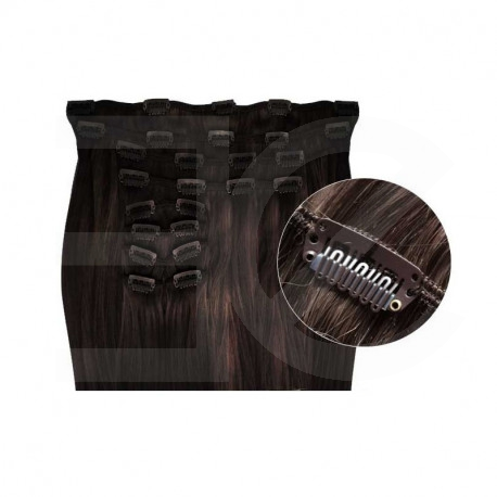 Synthetic clip in hair extensions dark brown 18 inch