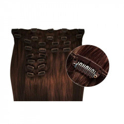 Synthetic clip in hair extensions chocolate extra volume 18 inch