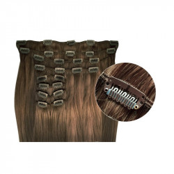 Synthetic clip in hair extensions Chestnut extra volume 18 inch