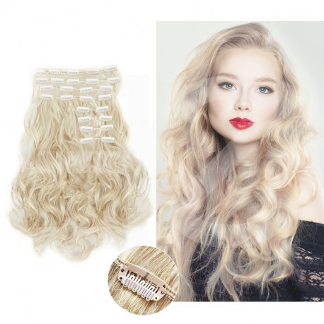 "Clip in hair extensions platinum blonde wavy max volume 180G 24"""