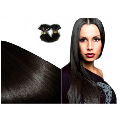 Extensions n 1B (brun) 100% natural hair hot fusion 50 cm