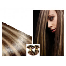 Pre bonded hair extensions chocolate with light blonde 18""