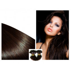 Extensions n 2 (dark chestnut) de cheveux hot fusion raides