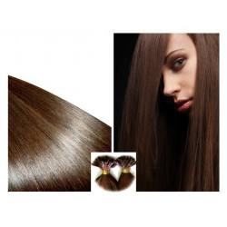 Pre Bonded Hair Extensions Straight - Natural Chocolate 24""
