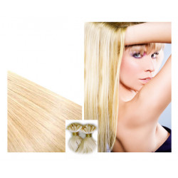 Extensions n 613 (light blonde) 100% natural hair  hot fusion 63 cm