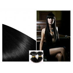 Pre bonded hair extensions jet black 28""
