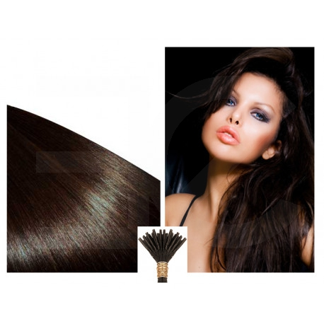 Micro ring hair extensions n°2 (Dark brown) 100% natural hair STICK TIP 18 Inch