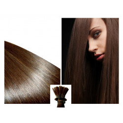 Micro ring hair extensions n°4 (Chocolate) 100% natural hair STICK TIP 18Inch