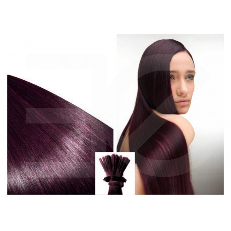 Micro ring hair extensions plum straight 18""