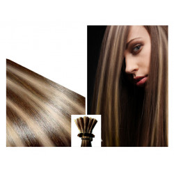 Micro ring hair extensions chocolate with light blonde highlights straight 24""