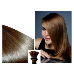 Micro ring hair extensions n°6 (CHESTNUT) 100% natural hair STICK TIP 24 Inch