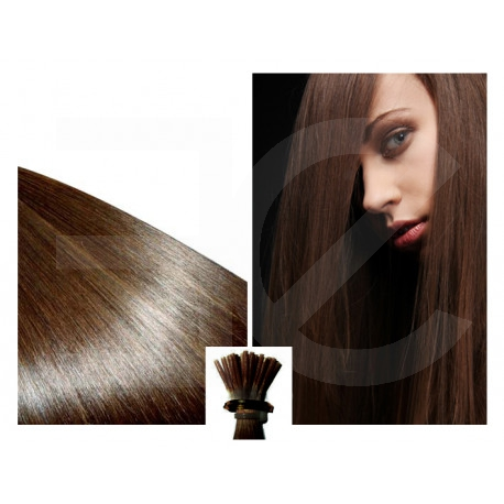 Micro ring hair extensions n°4 (chocolate) 100% natural hair STICK TIP 18 Inch 1g