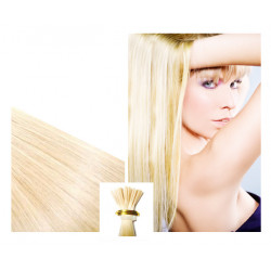Micro ring hair extensions n°613B (platinum blonde)100% natural hair STICK TIP 18 Inch 1g