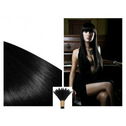 Micro ring hair extensions jet black straight 1G 24""