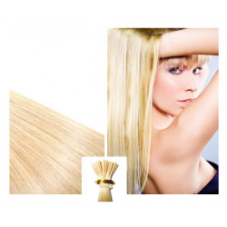 Micro ring hair extensions n°613 (light blonde) 100% natural hair STICK TIP 24 Inch 1g