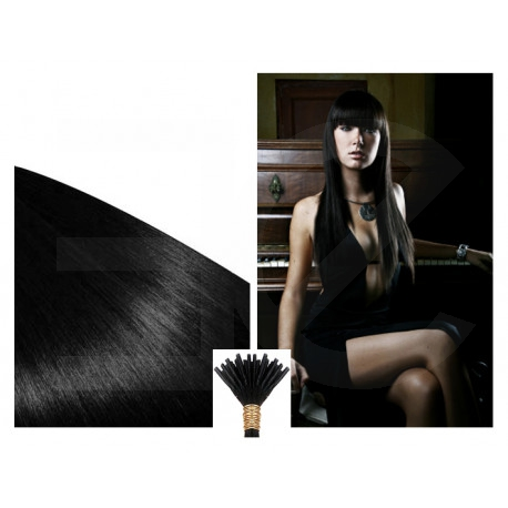 Extensions n 1 (black) 100% natural hair cold attachment 50 cm