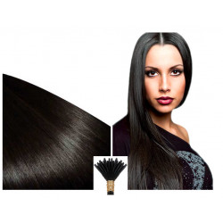 Micro ring hair extensions human hair n°1B (Brown) 100% natural hair STICK TIP 24 Inch 0.85 Gr