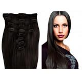 Clip in hair extensions UK n°1B (BROWN) 100% natural hair clip-in 20 Inch