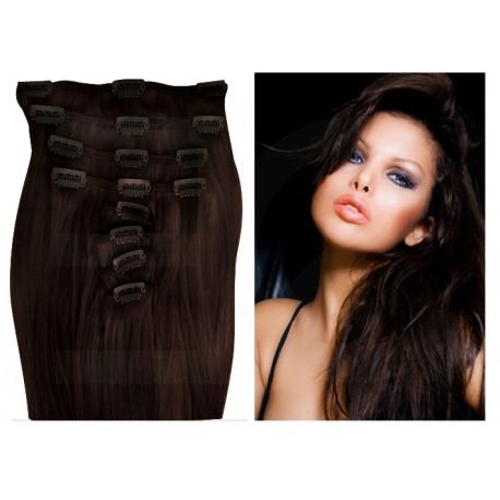 Extensions n 2 (dark chestnut) 100% natural hair clip-in 55 cm