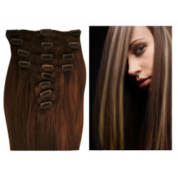 Clip in hair extensions UK N°4.613  (Chocolate with light blonde highlights) 100% natural hair clip-in 20 Inch