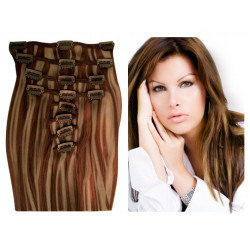 Clip in hair extensions UK n°8.22 (CHESTNUT WITH BLONDE HIGHLIGHTS) 100% natural hair clip-in 20 Inch