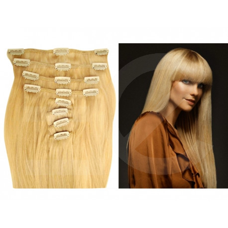 Extensions n 22 (blonde) 100% natural hair clip-in 55 cm
