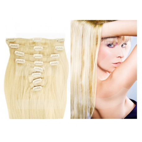 Clip in hair extensions platinum blonde 20 inch