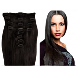 Clip in human hair extensions N°1B (brown) 28 Inch
