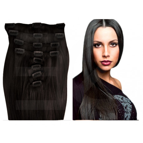 Clip in Hair Straight Extensions - Natural Black 28 Inch