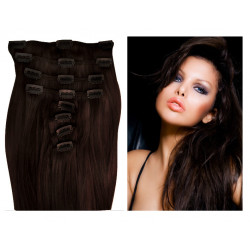 Clip in human hair extensions N°2 (dark chestnut) 28 Inch