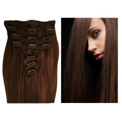 Clip in human hair extensions N°4 (chocolate) 28 Inch