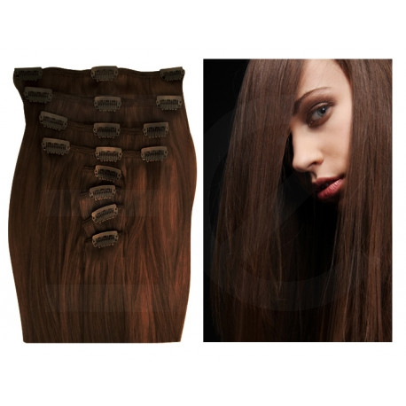 Clip in hair extensions chocolate 28 inch
