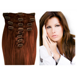 Clip in human hair extensions N°8 (chestnut) 28 Inch