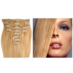 Clip in human hair extensions N°24 (ash blonde) 28 Inch