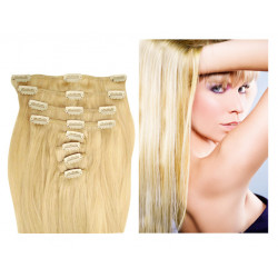 Clip in human hair extensions N°613 (light blonde) 28 Inch