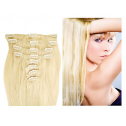 Clip in human hair extensions N°613B (platinum blonde) 28 Inch