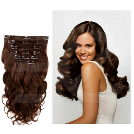 Extensions n 4 (chocolateE) 100% natural hair clip-in 53 cm