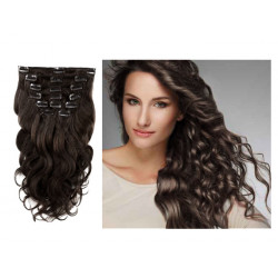 Wave clip In Human Hair Extension n°1B (Brown) 100% natural hair clip-in 24 Inch