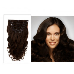 Clip in hair extensions dark brown wavy 24 inches
