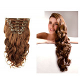 Wave clip In Human Hair Extension n°8 (Chestnut) 100% natural hair clip-in 24 Inch