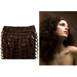 Clip in curly extensions n°4 (CHOCOLATE) 100% natural hair clip-in 20 Inch