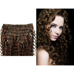 Clip in curly extensions n°6 (chestnut) 100% natural hair clip-in 20 Inch