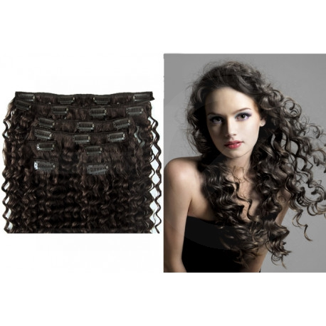Clip in curly extensions n°1B (brown) 100% human hair clip-in 24 Inch
