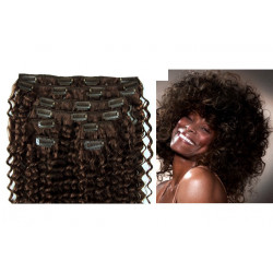 Clip in hair extensions dark brown curly 24 inch