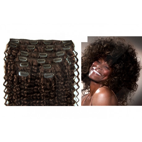 Clip in curly extensions n°2 (dark chestnut) 100% human hair clip-in 24 Inch