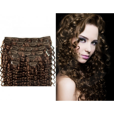 Clip in curly extensions n°6 (chestnut)100% human hair clip-in 24 Inch