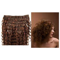 Clip in curly extensions n°8 (chestnut)100% human hair clip-in 24 Inch